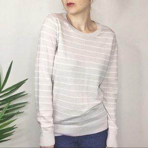 BANANA REPUBLIC gray & white striped sweater 0316